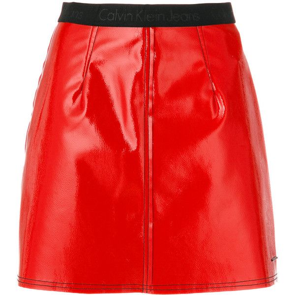6410bbbe50a9 Ck Jeans logo waistband mini skirt (2.430.400 VND) ❤ liked on Polyvore  featuring skirts, mini skirts, bottoms, red, red skirt, short skirts, calvin  klein ...