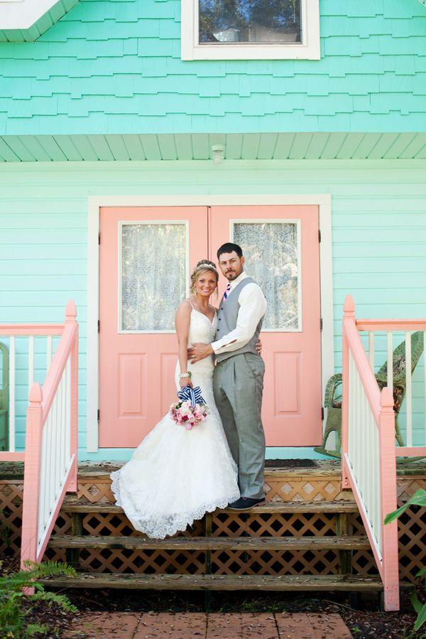 Pink And Navy Beach Wedding In Cedar Key Florida