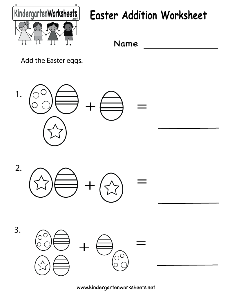 easter printables Kindergarten Easter Addition Worksheet