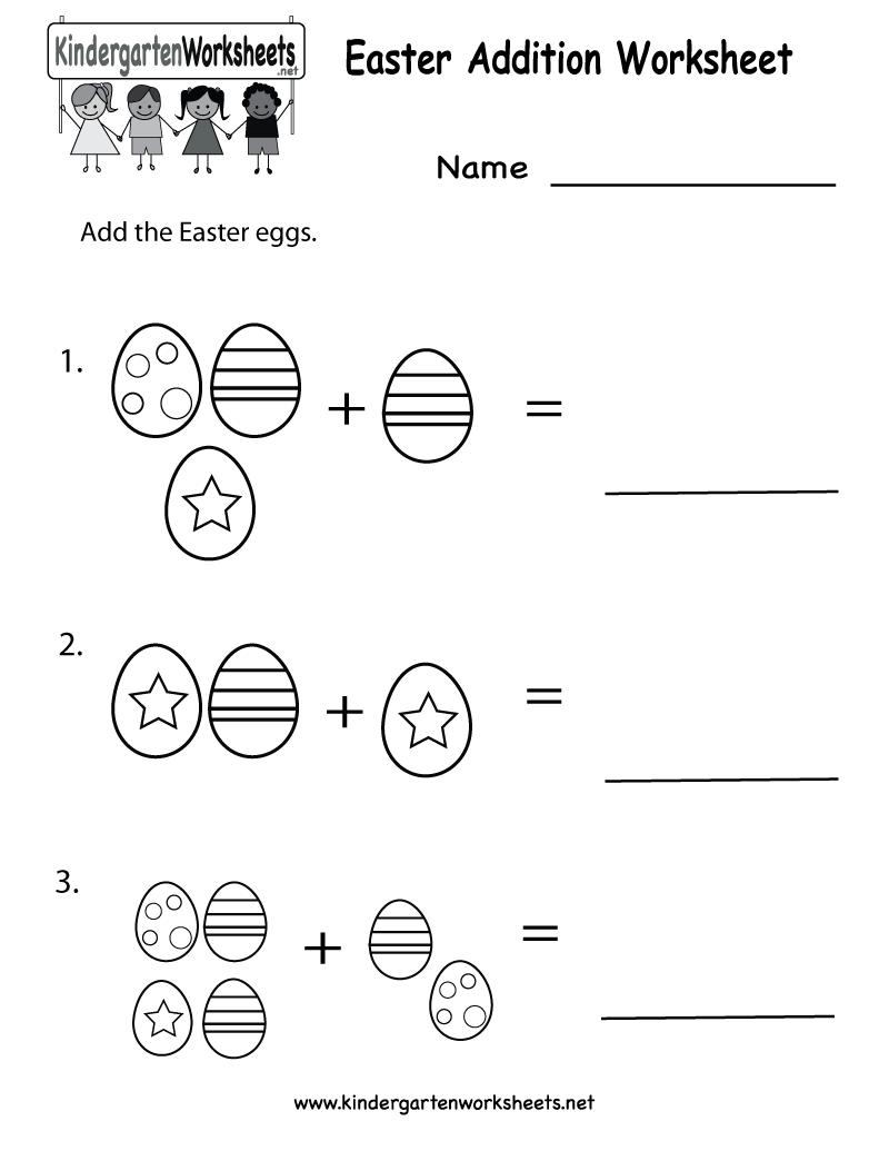 easter printables | Kindergarten Easter Addition Worksheet Printable ...