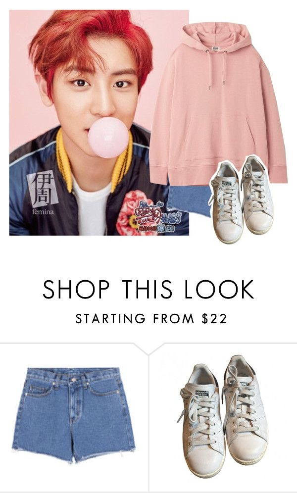 """""""// park chanyeol"""" by yoongismiles ❤ liked on Polyvore featuring MABEL and adidas"""