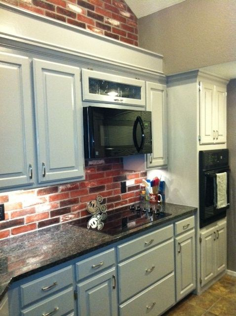 Kitchen Red Brick Backsplash And Wall Grey Cabinets Decorating Rh Pinterest Com For