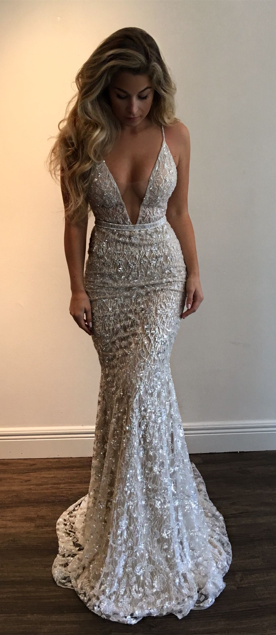 ed0e540c5a4 Mermaid Deep V-Neck Sweep Train Silver Lace Prom Dress with Sequins ...