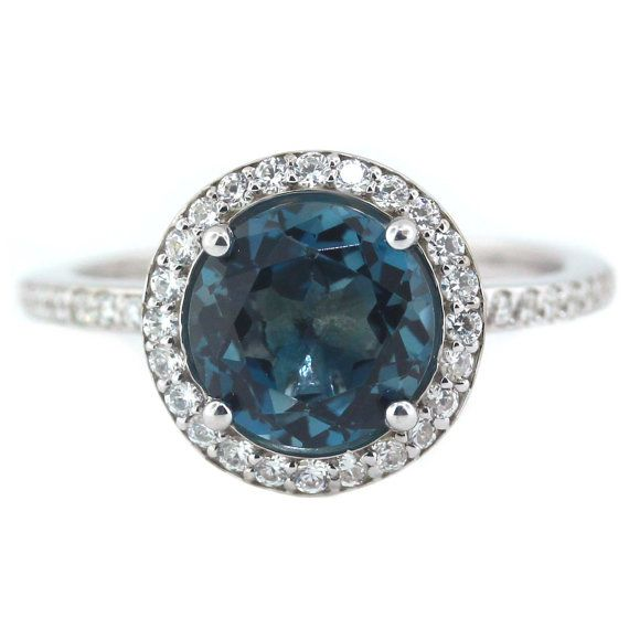london blue topaz engagement ring diamond side stones 14k gold - Blue Topaz Wedding Rings