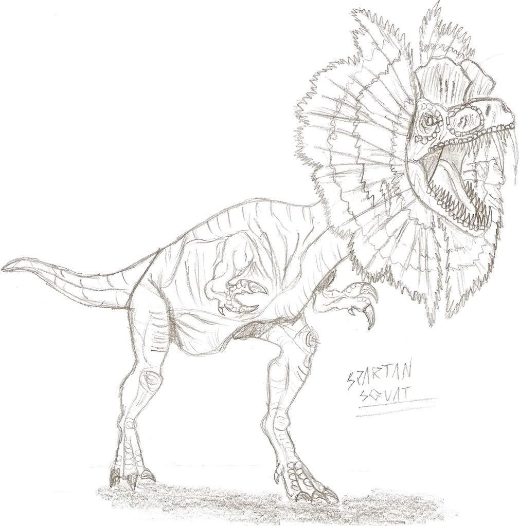 Dilophosaurus Kleurplaat • Kidkleurplaat.nl