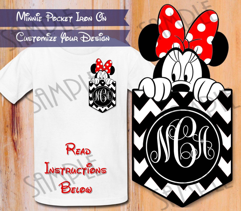 Design your own t-shirt iron on transfer - T Shirt Disney Monogram Minnie Pocket Iron On Transfer Chevron Printable Birthday Girl Digital Download Personalized Minnie Mouse Head Shirt