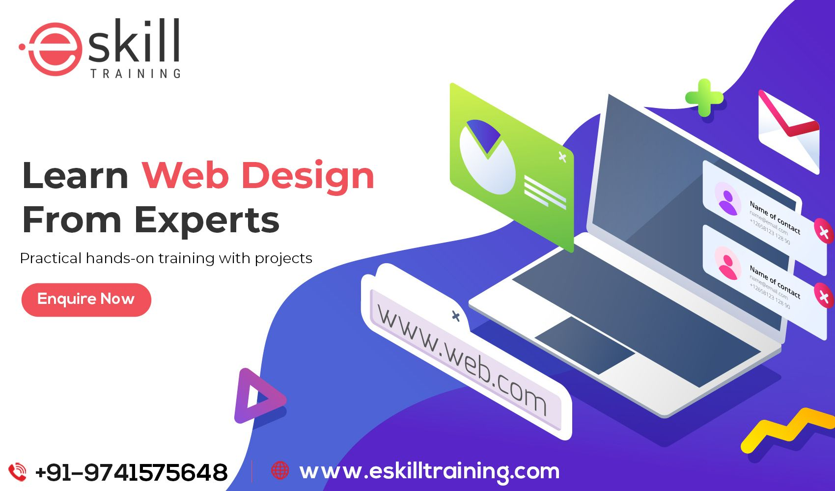 Learn To Create Professional Websites Who Fulfil For Industry Requirements Join Eskill Training For Web Development Design Web Design Company Web Design Tips