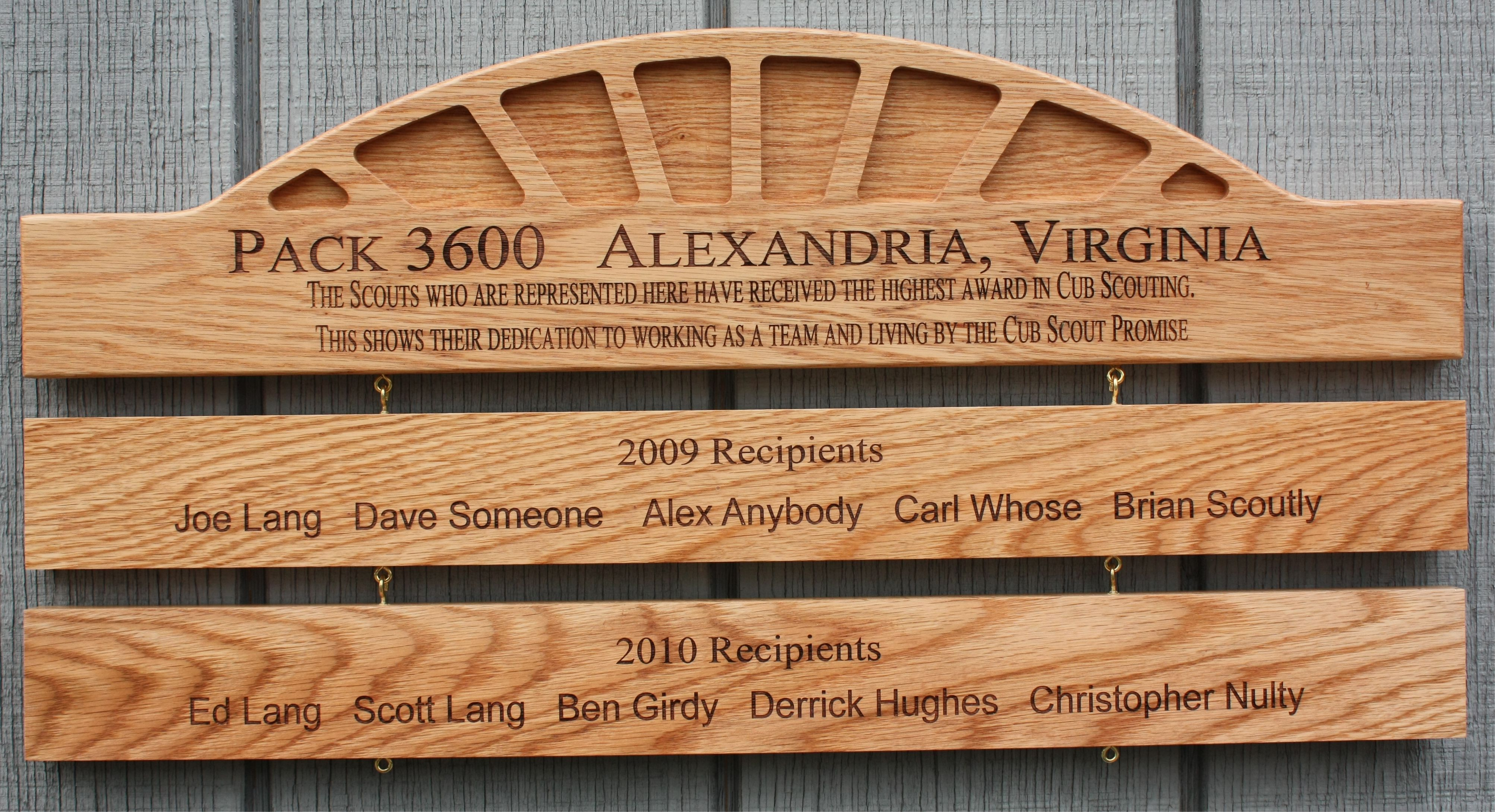 pack plaque honoring arrow of light recipitents arrow of light. Black Bedroom Furniture Sets. Home Design Ideas
