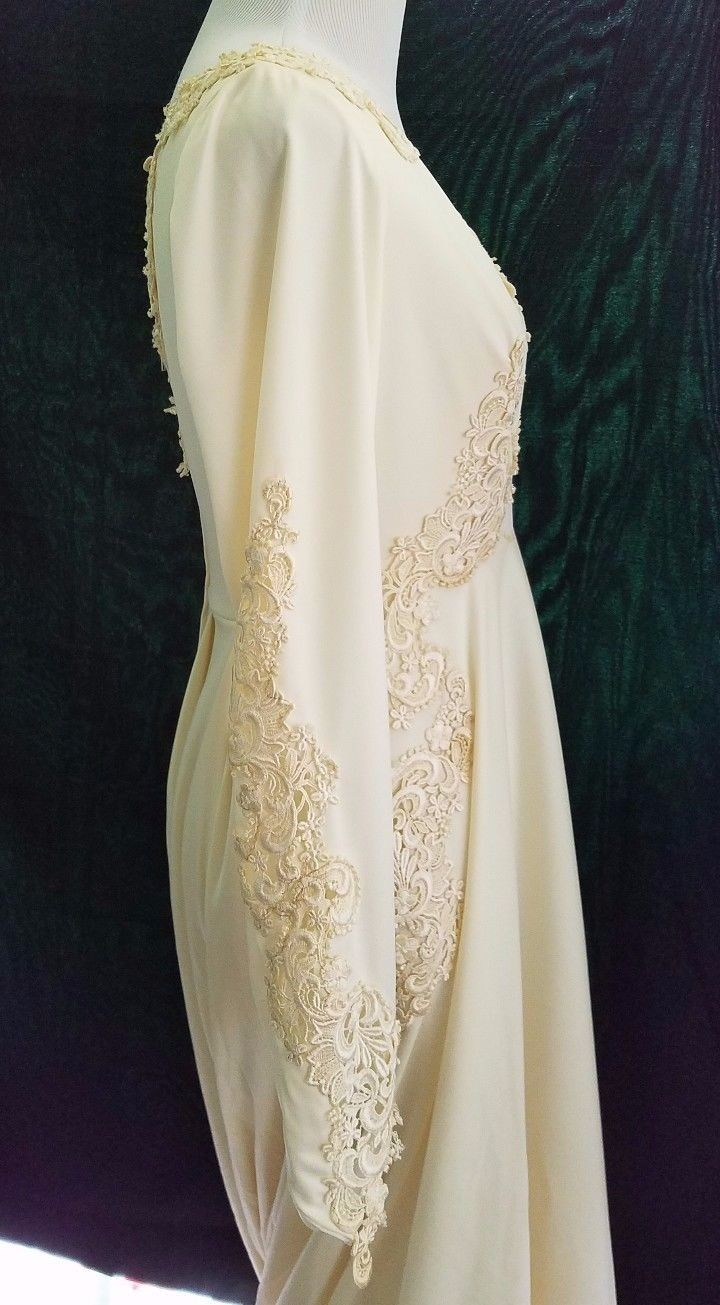 Vintage ivory satin u lace wedding gown with long chapel train