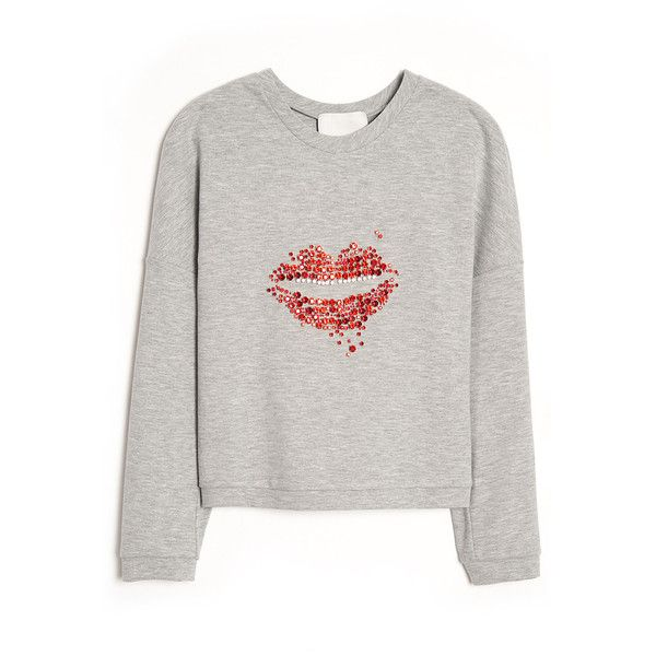 3.1 Phillip Lim Cropped Sequin Lip Pullover ($450) ❤ liked on Polyvore