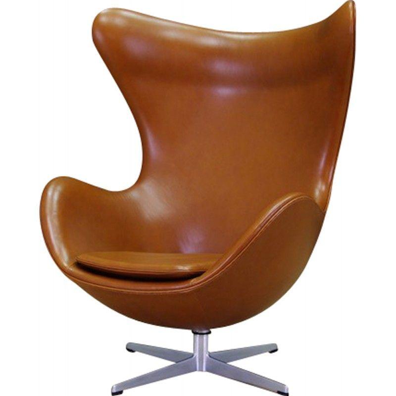 De Egg Chair.Fauteuil Egg Chair En Cuir Marron De Arne Jacobsen 1960 Eggchair