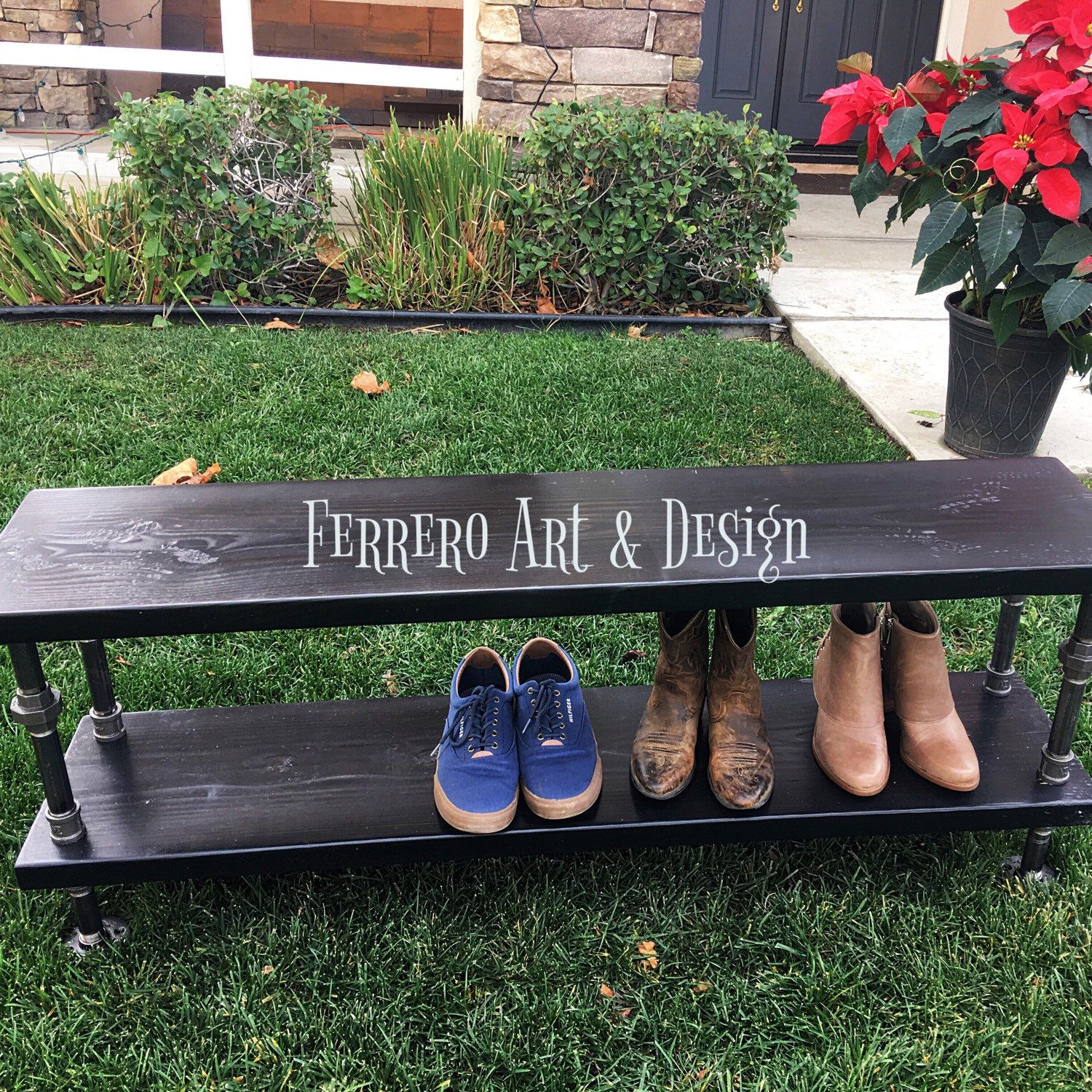 Bench, Shoe Rack, Industrial, Steampunk, Rustic, Home Decor, Office Decor