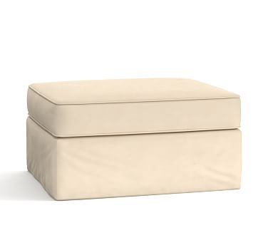 Pearce Slipcovered Storage Ottoman, Polyester Wrapped Cushions, Performance Everydayvelvet(TM) Buckwheat