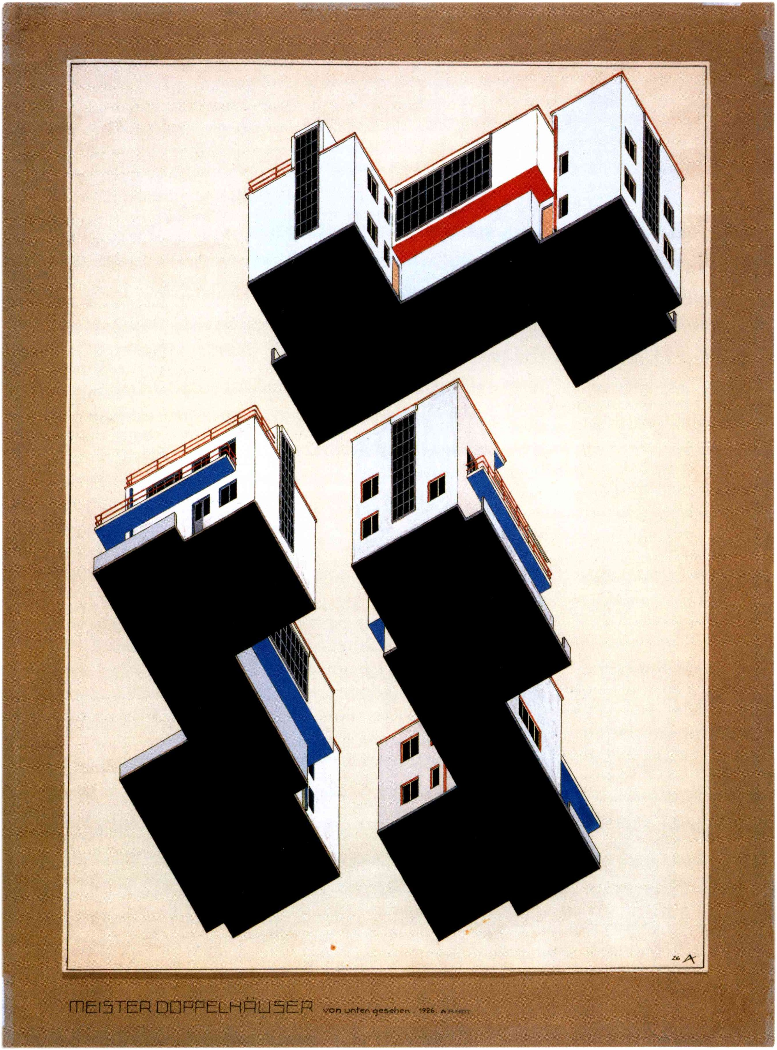 walter gropius houses for the bauhaus sketch axonometric