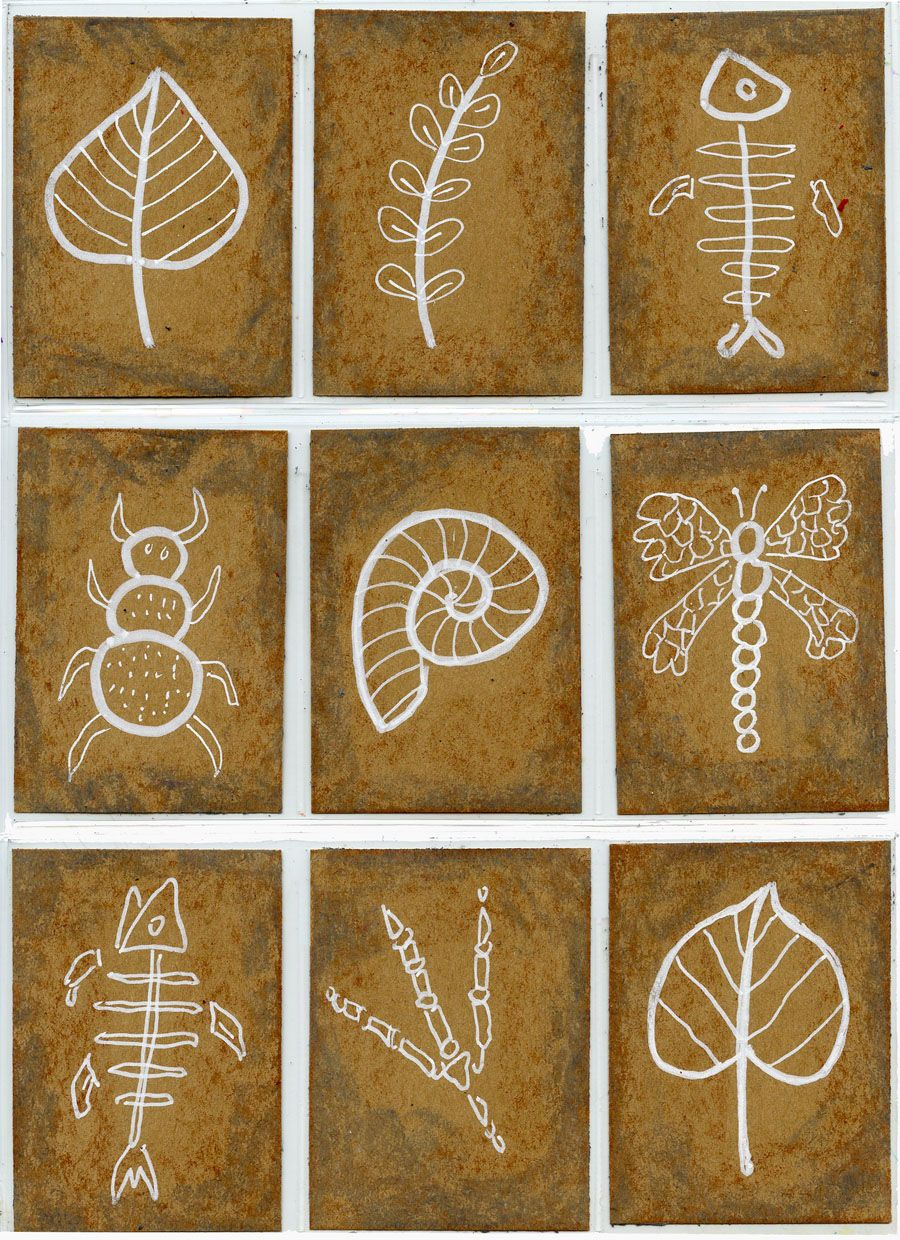 Sharpie Winter Landscape Art Trading Cards And Fossils