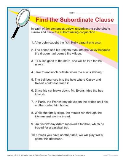 Find the Subordinate Clause   Worksheets, Sentences and Sentence ...