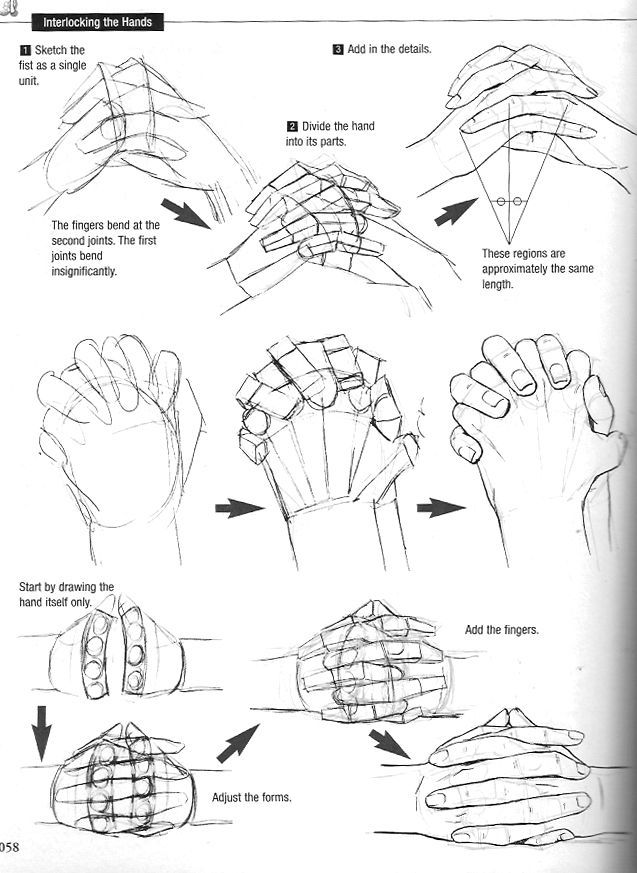 how to draw clasped hands