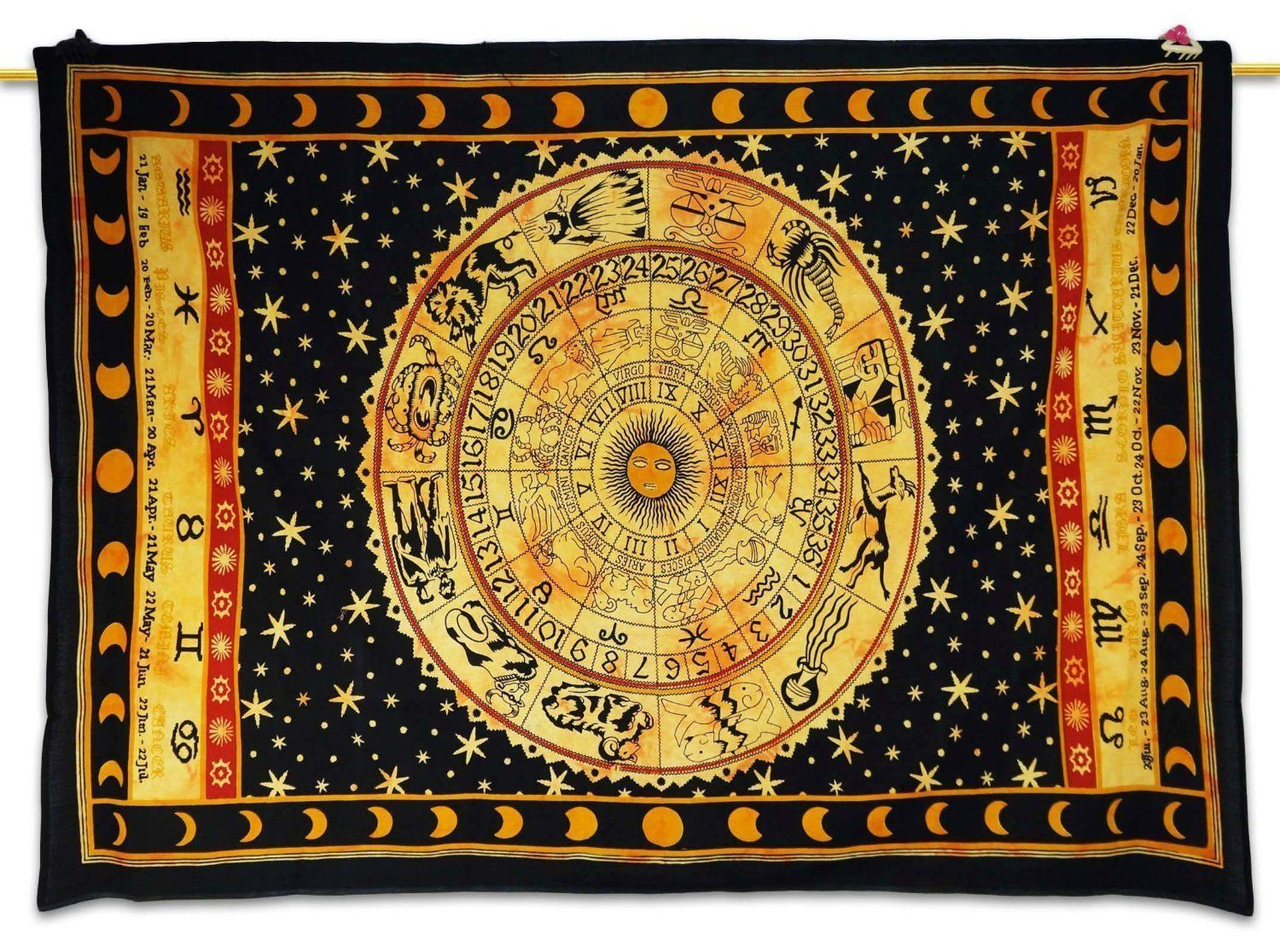 Healing Crystals India Ethnic Black Tapestry Astrology Print Wall ...