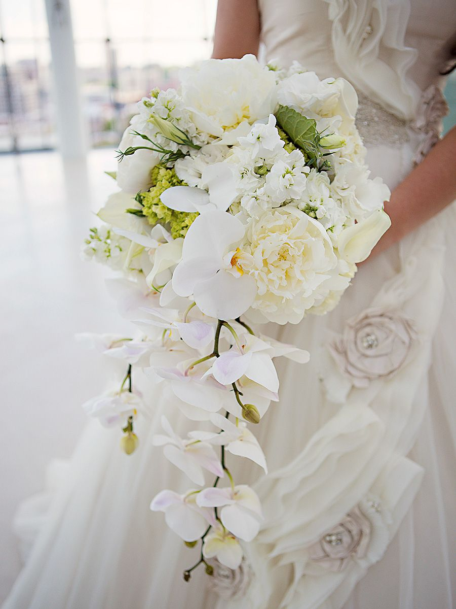 Cascading White Bouquet With Orchids Peonies And Sweet Pea