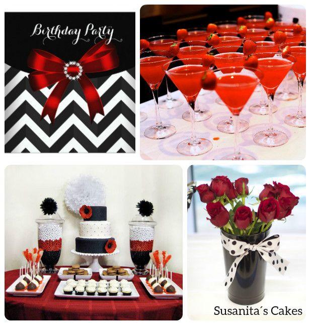 Ideas para una fiesta en colores rojo blanco y negro - Decoracion blanco negro rojo ...