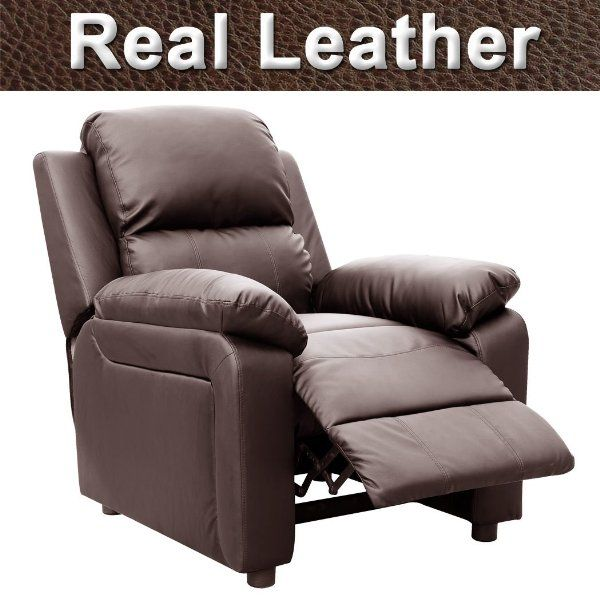 Living Room £163 Brown Real Leather Recliner Armchair