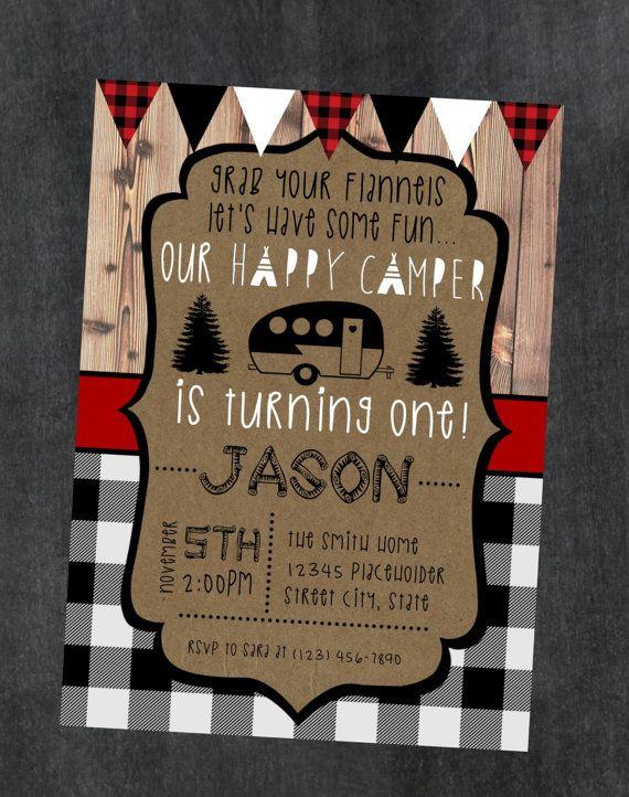Happy Camper Invite Invitation 1st Birthday Camping