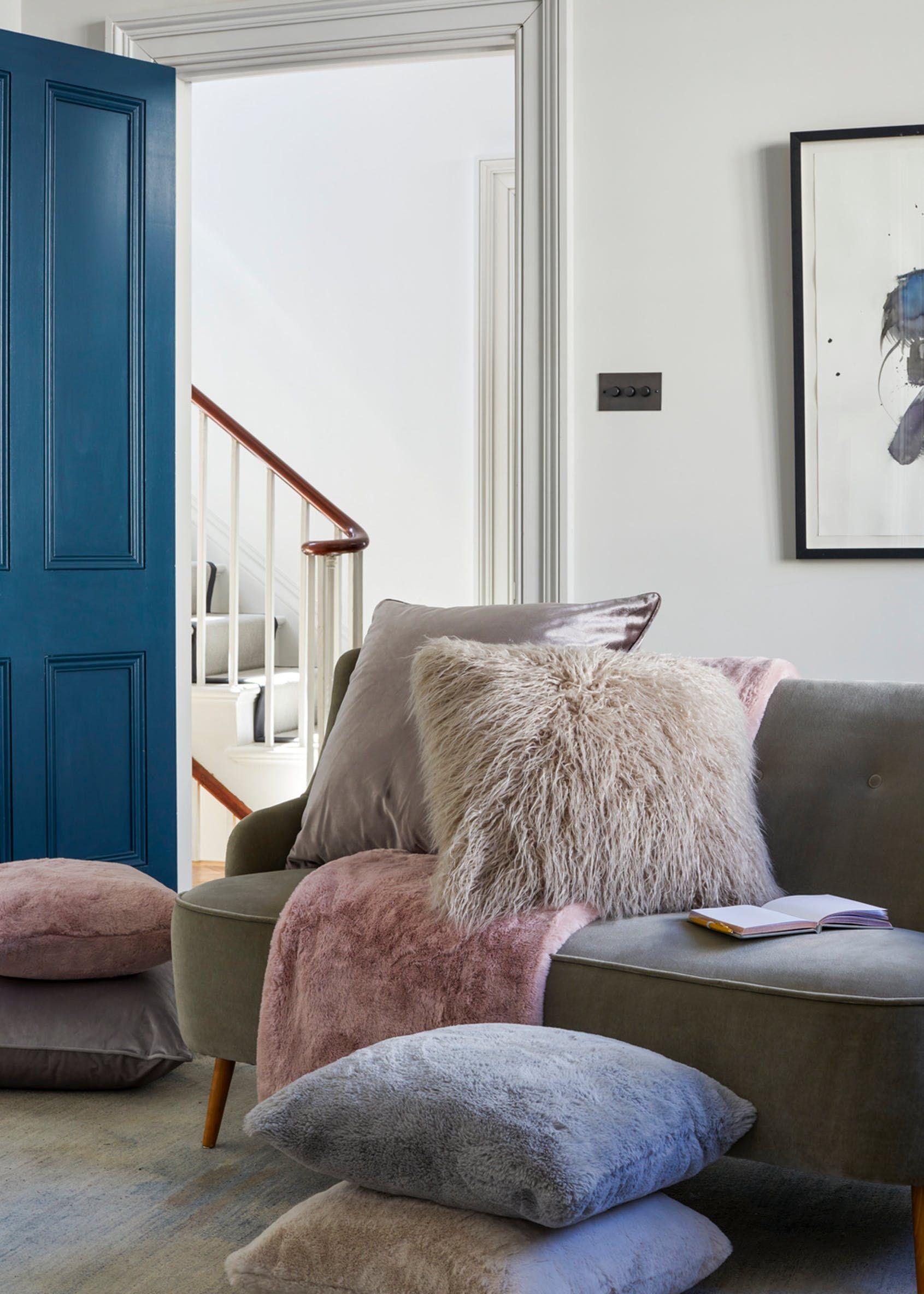 Faux Fur Throw (150cm x 130cm) Cushions on sofa, Cosy