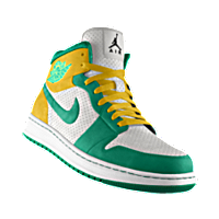 I designed the white Nike Air Jordan Alpha 1 basketball shoe with emerald  green and varsity