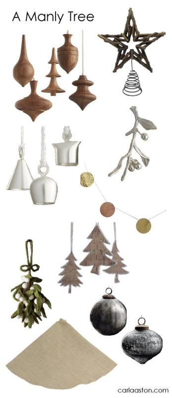 A Christmas tree designed with a masculine touch - click trough for links / xmas  decorations, Christmas ornaments - 10 Must-Have Masculine Christmas Tree Decorations Christmas Decor