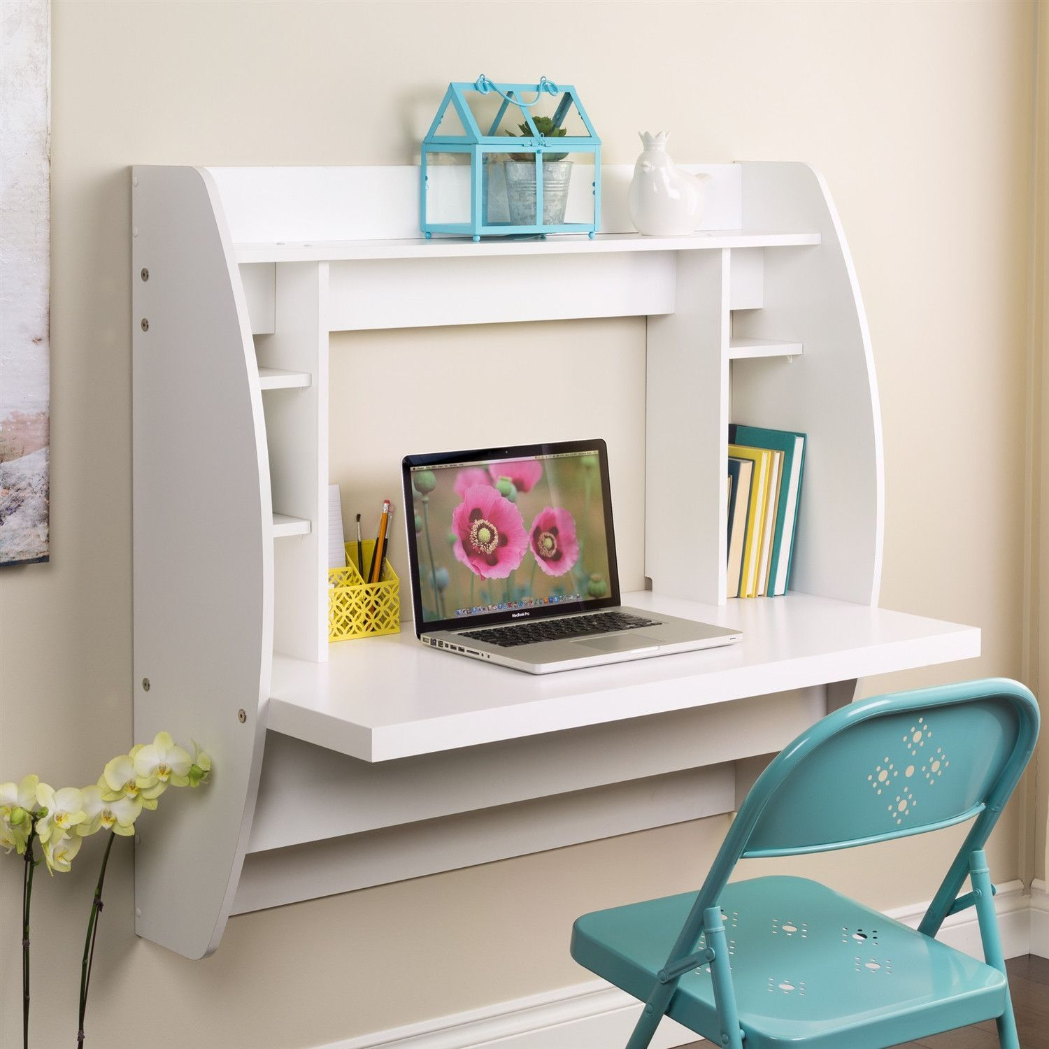Modern Wall Mounted Floating Computer Desk in White Finish   Ideias ...