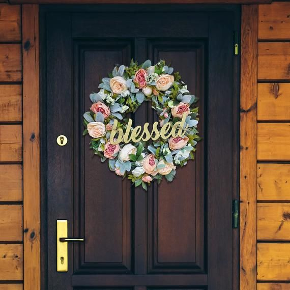 Photo of Spring Wreaths for Front Door, with Peonies, Grapevine Wreath, with Lambs Ear, Shabby Chic, Floral Wreath, Wreaths