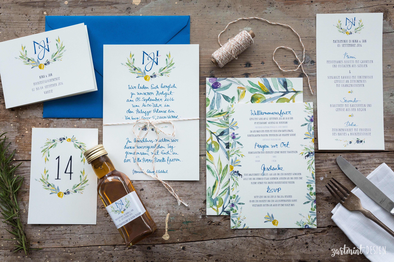 Hochzeitspapeterie Mediterran Mit Oliven U0026 Zitronen Im Aquarellstil ♥  Einladung, Hochzeitseinladung, Danksagungskarte, Dankeskarte