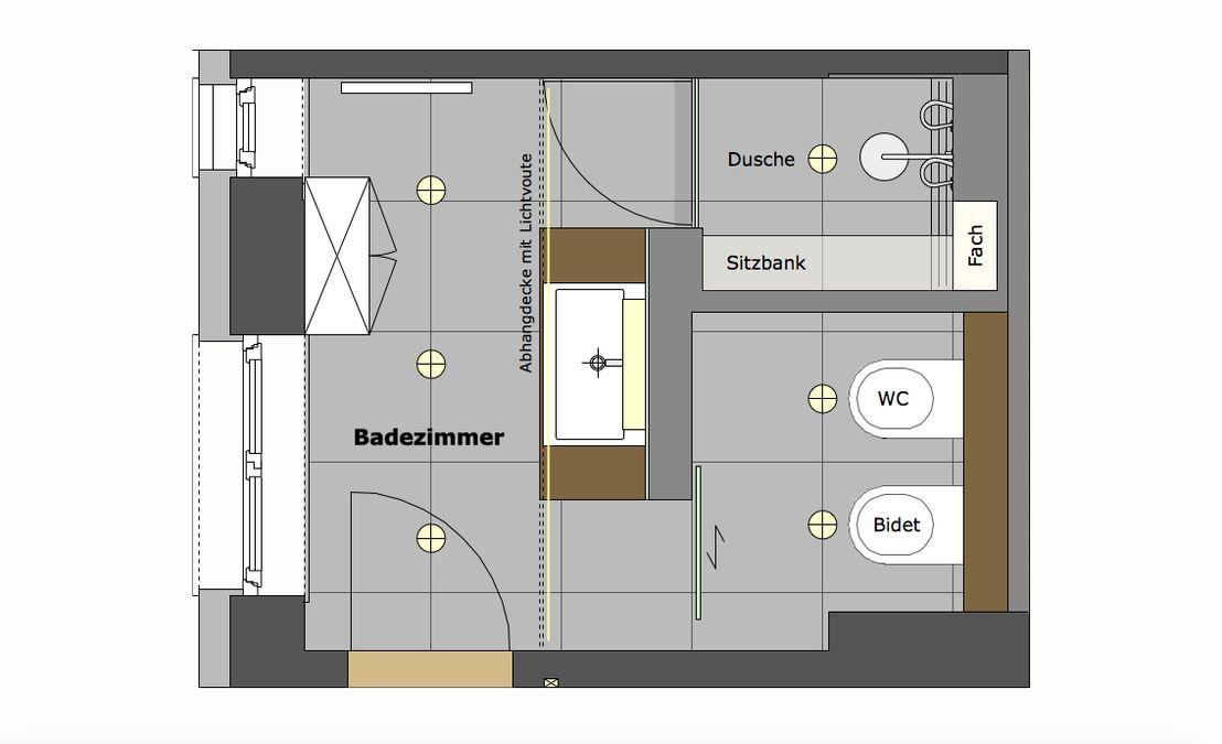 Der Grundriss Zeigt Die Aufteilung Des Badezimmers Mit Dem Waschtisch In Der Raummitte Links Von Ihm Die Dusche Badezimmer Grundriss Badezimmer Badezimmer S