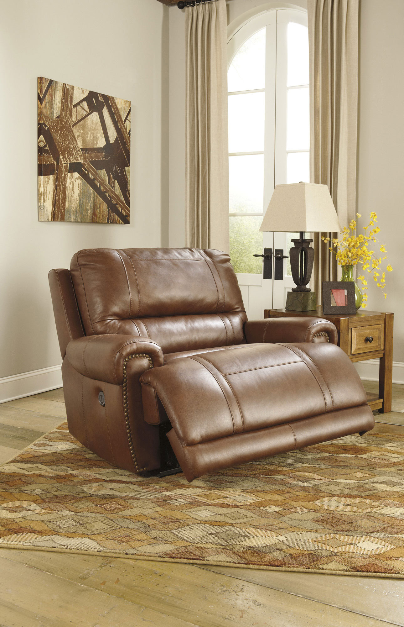 Paron Chair And A Half Power Wall Recliner In Vintage Brown Wide Seat Recliner Chair And A Half Recliner Chair