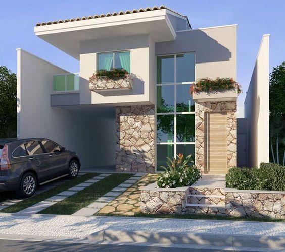 Facahda casa pequena 2 andares casa zero pinterest for Modelos de pisos exteriores
