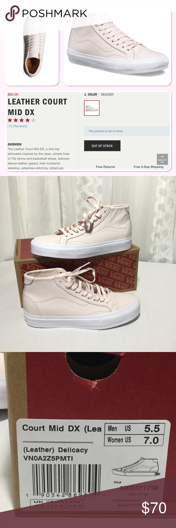 76b634bb4b VANS court mid DX delicacy (light pink) SZ 7 NWT Mid-top shoe. Has ...