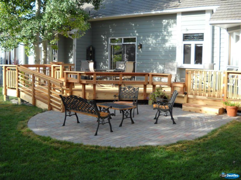 Perfect Paver Patio And Wood Deck Combination With A Ramp. // View More Designs At  Www.decktec.com #decktec