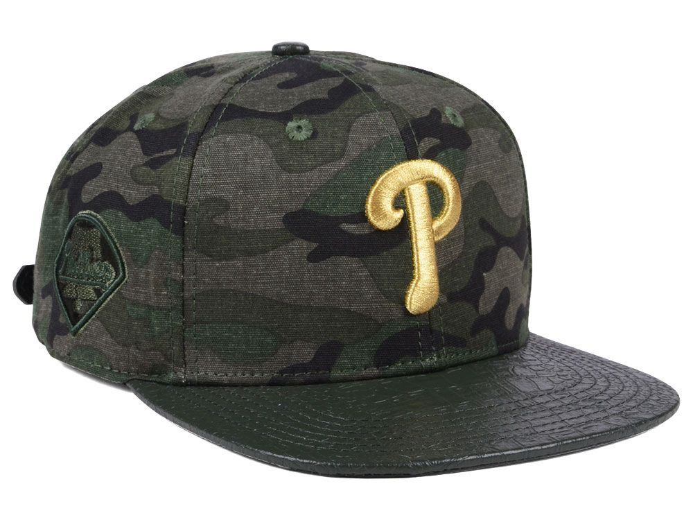 new style 26e89 a5d8d Philadelphia Phillies Pro Standard MLB Camo Gold Strapback Cap