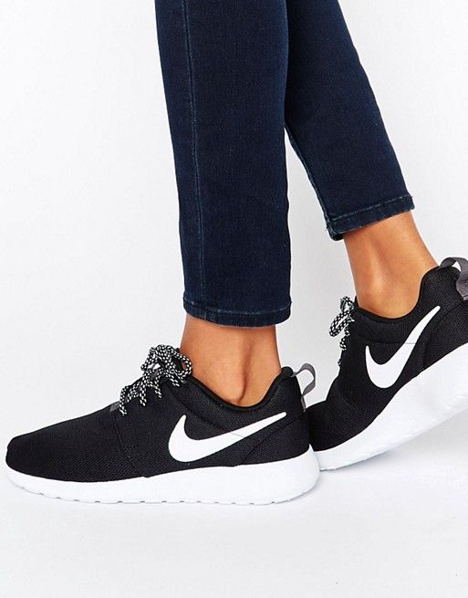 Nike Roshe Trainers In Black And White at asos.com