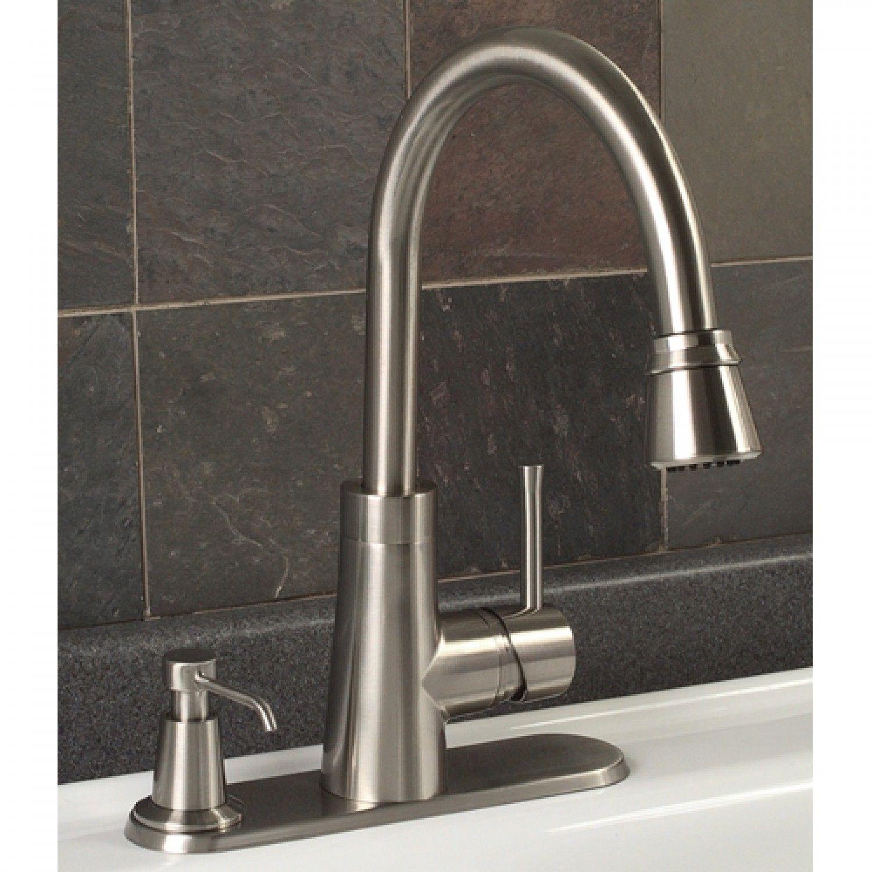 Millen Pull Down Kitchen Faucet With Deck Plate Soap Dispenser Kitchen Faucets Kitche Kitchen Faucet With Sprayer Kitchen Faucet Gooseneck Kitchen Faucet [ 1500 x 1500 Pixel ]