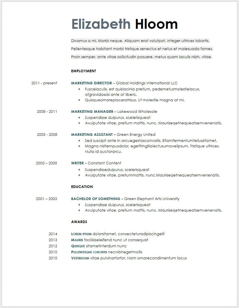 Cv Template Google 1 Resume Templates