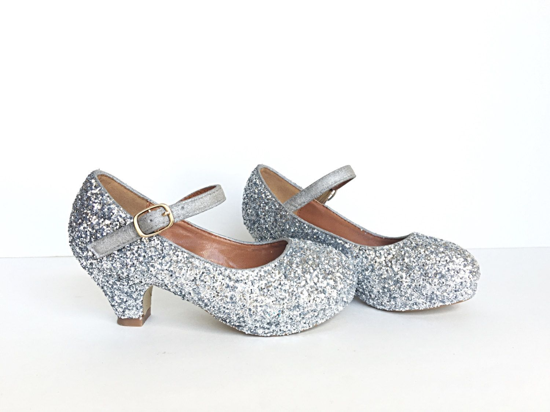 bdcc4eb8572 Toddler Glitter Shoes - Silver Kids Girls Heel - Gray Metallic Heel ...
