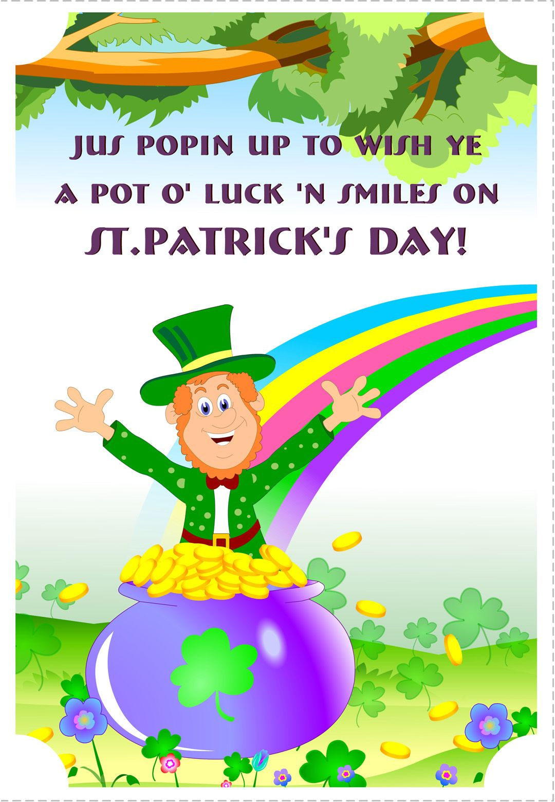 graphic about St Patrick's Day Cards Free Printable called Free of charge Printable A Pot Of Luck St Patricks Greeting Card