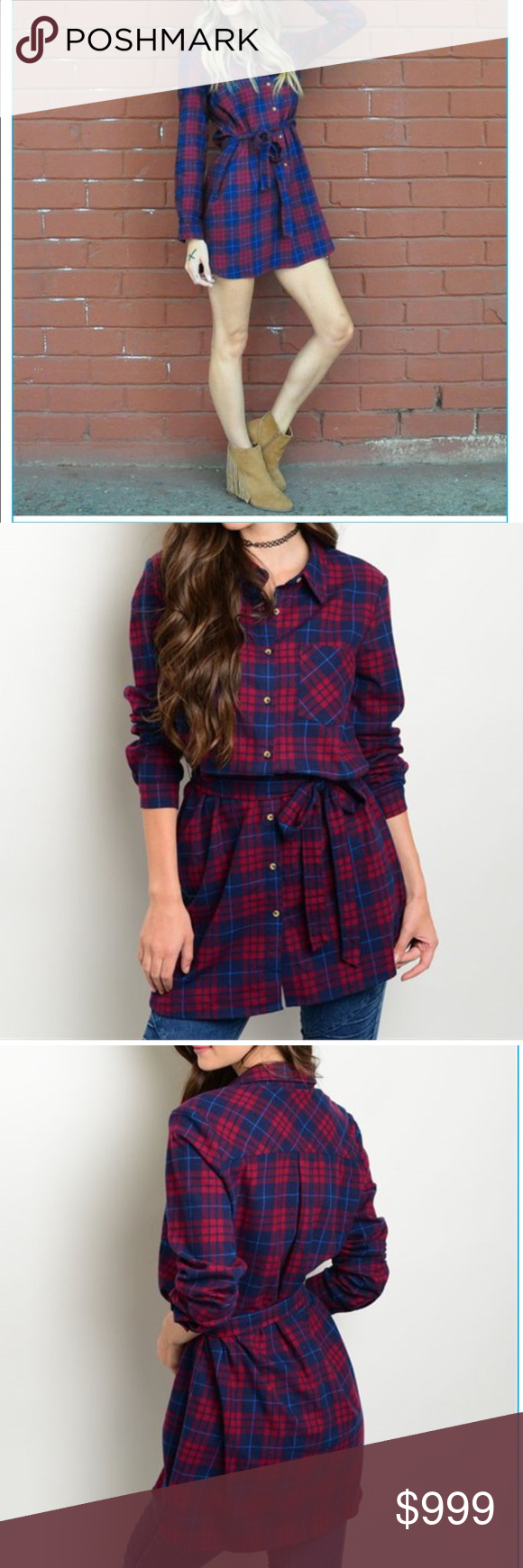 Navy and Red Top with Sash This plaid tunic top features long sleeves, a button up detail and a removable sash. 100% cotton and new from manufacturer without tags. Will happily measure length if asked! Price firm unless bundled. Tops