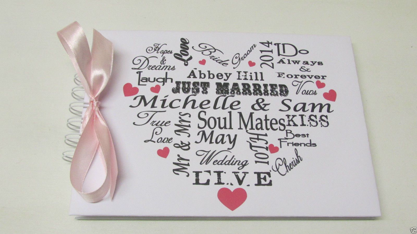 Details about personalised wedding guest book typography
