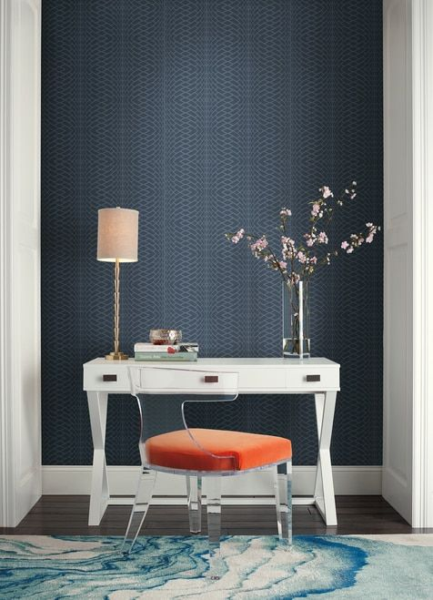 York Wallcoverings Ol2784 Candice Olson Journey Navy In