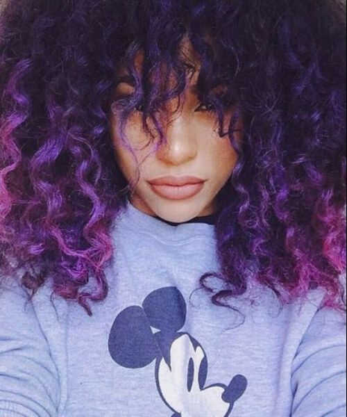 Short Curly Purple Ombre Hair Curly Purple Hair Curly Hair Styles Hair Color Crazy