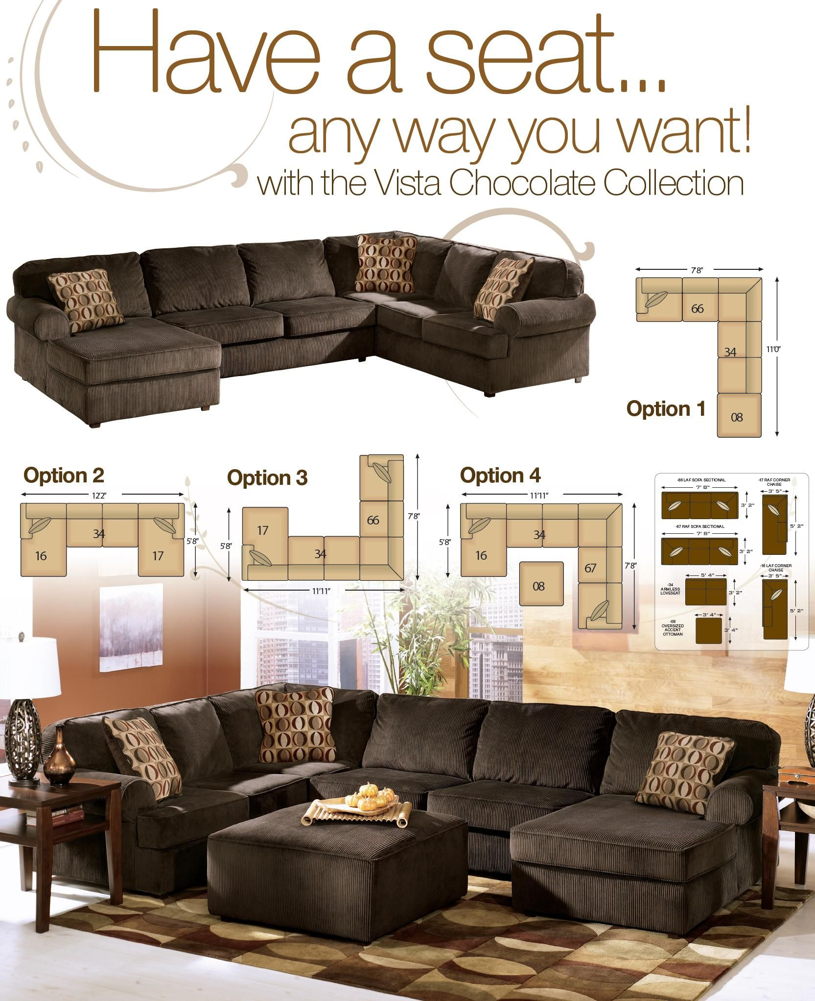 Vista Chocolate Casual 3 Piece Sectional With Left Chaise By