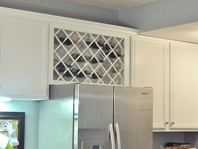 Not So Newlywed Mcgees Cabinet Wine Lattice Built In Wine Rack Kitchen Cabinet Wine Rack Diy Kitchen Decor