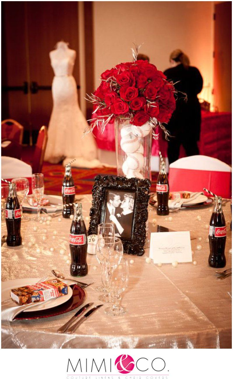 Wedding decorations red  Not with baseballs cokes or pics of marilyn but same type frames